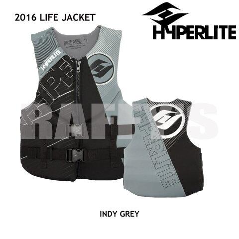 2017 ライフジャケット ハイパーライト ウェイクボード HYPERLITE INDY NEO VEST GREY ライフベスト 救命胴衣