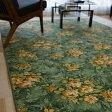 防汚 撥水 カーペット おしゃれ 花柄 江戸間 2畳 用 176x176 ダイニングラグ 正方形 ソレイユ ラグマット 絨毯 送料無料 ベルギー絨毯