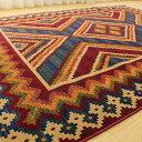 キリム 柄 ラグ ラグマット 200×200 2畳 大 アジアン おしゃれ じゅうたん モケット織り キリム柄 エスニック 調 カーペット 絨毯 kilim