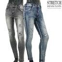 ストレッチジーンズ メンズ クラッシュ加工 デニムパンツ スキニーデニム サイドライン V011031-03