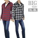 ショッピングネルシャツ 大きいサイズ ネルシャツ 長袖 メンズ 裏フリース チェックシャツ フランネル 袖アジャスト C300111-01