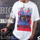 大きいサイズ Tシャツ クルーネック 半袖 メンズ バンド サイケデリック ビッグプリント C300305-10