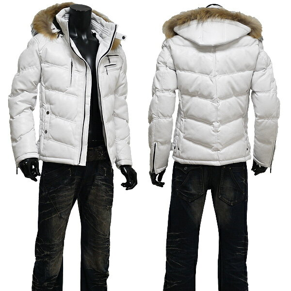 メンズジャケット中綿ジャケットメンズ大きいサイズリアルファーPUレザー中綿ダウンタイプライダースレザー