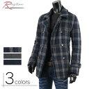 ショッピングピーコート Pコート ピーコート メンズ ウール 中綿ジャケット カジュアル チェック 防寒 V261203-01