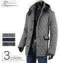 ハーフコート メンズ ショート コート キルティング 中綿 メルトン ウール 暖か V261217-02