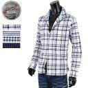 ショッピングギンガムチェック 麻シャツ メンズ シャツ ストレッチ チェックシャツ ストライプ サマーシャツ R290221-06