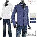 ストライプシャツ メンズ チェックシャツ ワイシャツ ブロードシャツ ボタンダウン G300426-03