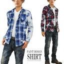ショッピングウエスタン ウエスタンシャツ メンズ チェックシャツ ペンキ ペイント 長袖 チェック ムラデザイン スプラッシュ加工 V300829-07