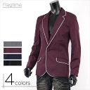 テーラードジャケット ブレザー メンズ サロン系 キレカジ系 パイピング 黒 ワイン ネイビー 紺 A250828-02