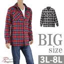 ショッピングネルシャツ BIG 大きいサイズ ネルシャツ 長袖 メンズ 裏フリース チェックシャツ フランネル 袖アジャスト C300111-01