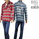 ショッピングネルシャツ BIG 大きいサイズ ネルシャツ メンズ 長袖 ドクロ ハート 刺繍 フランネル 起毛生地 チェック C300111-08