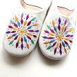 fatima morocco モロッコ バブーシュ カラフル刺繍ホワイト 室内履き スリッパ ルームシューズ モロッコ雑貨 母の日 ギフト プレゼント