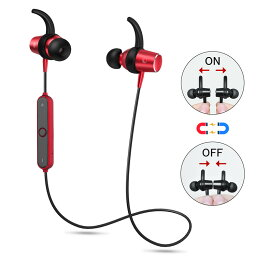 Bluetooth <strong>イヤホン</strong> スポーツ仕様 ランニング <strong>マグネット</strong> ON/OFF機能搭載 ワイヤレス ヘッドホン 両耳 カナル型 高音質 APT-X対応 ブルートゥース <strong>イヤホン</strong> マイク付き 防水 防塵 防汗 軽量 iPhone、Android各種対応 <strong>イヤホン</strong>