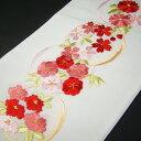 刺繍半衿 半襟 白/色 花丸文・赤 結婚式 成人式 フォーマル 振袖用 袴 はかま 赤
