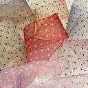 SIC ドットプリントオーガンジーリボン 72mm 30メートル巻 服飾 手芸 SHINDO