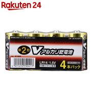 OHM Vアルカリ電池単2形 4本パック LR14/S4P/V