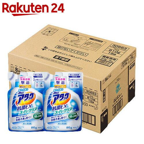 【ケース販売】アタック 抗菌EX スーパークリアジェル つめかえ用 810g×15個