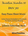Invention Number 10 BWV 781 Easy Piano Sheet Muisc