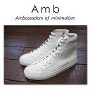 【AMB Ambassadors of minimalism エーエムビー アンバサダーズ】1000 ZIP レザーハイカット サイドジップ スニーカー ホワイト メンズシューズ 革靴 紳士靴【02P05Nov16】