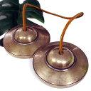 【スペシャル品質】チベット密教 ティンシャ(チベタンシンバル) 無地 7メタル 直径:78mm|セブンメタル|チベットシンバル|チベット密教|楽器|瞑想|手作り...