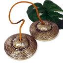 【スペシャル品質】チベット密教 ティンシャ(チベタンシンバル) 龍(ドラゴン)2 セブンメタル 直径:78mm|7メタル|チベットシンバル|チベット密教|楽器|瞑想|手作り【送料無料】