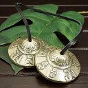 チベット密教 ティンシャ(チベタンシンバル) 観音菩薩真言 オムマニペメフム ミニ|チベット密教|楽器|瞑想|手作り【メール便対応可】