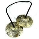 チベット密教 ティンシャ(チベタンシンバル) 八吉祥(八つの幸運のシンボル) 7メタル 直径:72mm|セブンメタル|チベットシンバル|チベット密教|楽器|瞑想|手作り【送料無料♪】