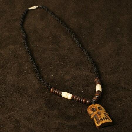 チベット ヤクの骨 カービング ペンダント 骸骨(ドクロ、スカル) ネックレス|チベット密教|彫刻|手彫り|ペンダント【メール便対応可】