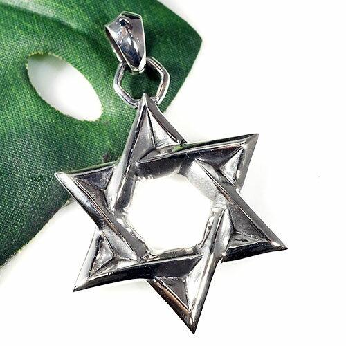 六芒星(ダビデの星) スターリング シルバー ペンダントトップ 特大サイズ|イスラエル|ソロモンの印|ユダヤ教|シルバー925|ペンダント・ネックレス【送料無料】