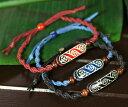 アイヌ紋様 エリマキ 彫刻 ロウ引き紐 ブレスレット 手首周り調整可能|ウッドカービング|カムイ|神