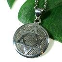 六芒星(ダビデの星) スターリングシルバー ペンダントトップ コイン型|イスラエル|ソロモンの印|ユダヤ教|シルバー925|ペンダント・ネックレス【メール便対応可】