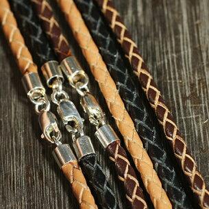 スターリング シルバー チェーン ブラック ブラウン レザーチョーカー ペンダント ネックレス
