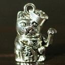 招き猫 招福金運 スターリングシルバー ペンダントトップ Lucky Cat Welcome Cat 招福 和柄【メール便対応可】