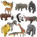 【 ZOO 動物フィギュア 12種 セット 】アニマル ライオン トラ パンダ ゴリラ ゾウ キリン クマ ワニ シマウマ サイ ガゼル 人形 飾り 模型 おもちゃ 動物 グッズ リアル フィギュア 動物園 ミニチュア 大きい ジオウラマ