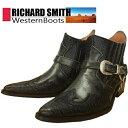 【RICHARD SMITH ウエスタンブーツ 92912 】 ミッドカット ブーツ サイドジップ 先尖がり 黒 カウボーイブーツ サイドゴア お..