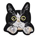 ワッペン 動物 刺繍ワッペン アイロン接着 縦4.5cm×横4.1cm ひょっこり シリーズ ネコ 猫 ねこ cat アイロンワッペン ミニワッペン かわいい 手芸【メール便可】