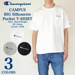 Champion チャンピオン CAMPUS ロゴ刺繍 半袖 ポケット ビックシルエット Tシャツ ヘヴィーウエイト Cロゴ C3-K357