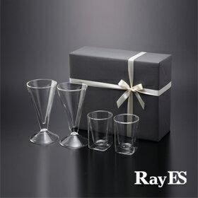 [ギフト] RayES/レイエス ダブルウォールグラス RDS-001、002[4個入り・ラッピング・カード付] 耐熱二重ガラス/誕生日プレゼント 結婚祝い 内祝 祝い 新築 退職 還暦 引き出物 おすすめ ギフト プレゼント【楽ギフ_包装選択】【あす楽】【HLS_DU】【RCP】
