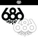 686 ステッカー L BLACK/WHITE 【スノーボード ステッカー SIX EIGHT SIX】