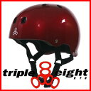 トリプル8 ヘルメットスケートボード用 TRIPLE8 HELMET GLOSSY METALLIC RED715005