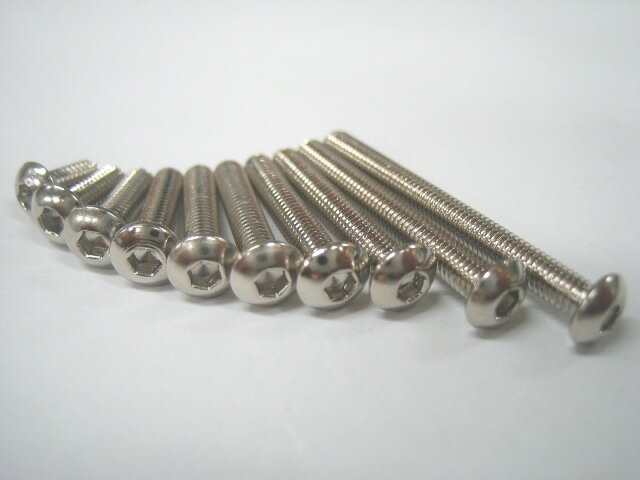 【ネコポス対応】ミクニファクトリー(MIKUNI FACTORY)/SBN-3425/M3ソケットスクリュー ボタン 25mm ニッケルクローム 6本入/