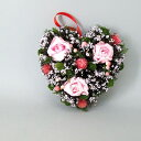 リース ハートリース 幅22cm 薔薇 花 天然素材 ピンク(代引不可)【ポイント10倍】