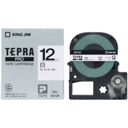 キングジム テプラPROテープ SS12K(白/黒文字 12mm幅)【ポイント10倍】