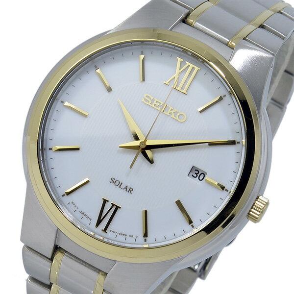 セイコー SEIKO ソーラー SOLAR クオーツ メンズ 腕時計 時計 SNE388P1 ホワイト【ポイント10倍】【_包装】 【ラッピング無料】