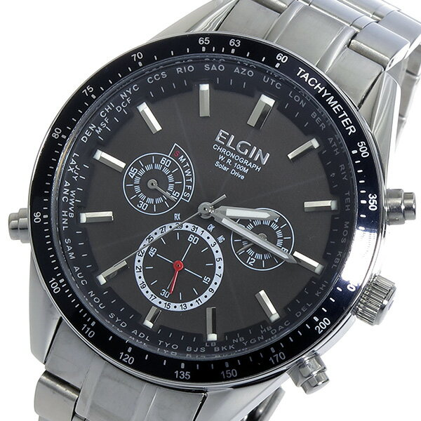 エルジン ELGIN 電波 ソーラー クロノ メンズ 腕時計 時計 FK1412S-BP ブラック【ポイント10倍】【_包装】 【ラッピング無料】あつい
