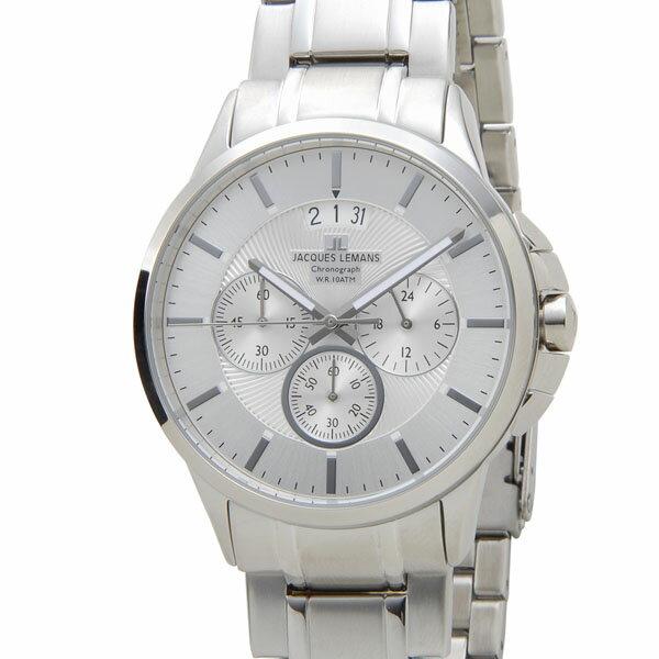 ジャックルマン シドニー クロノ デイト クオーツ メンズ 腕時計 時計 1-1542E シルバー【ポイント10倍】【_包装】 【ラッピング無料】