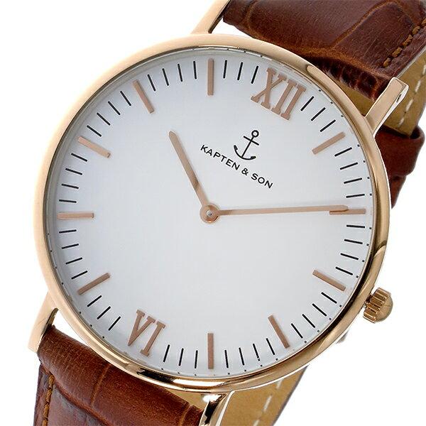 キャプテン&サン KAPTEN&SON 40mm クオーツ レディース 腕時計 時計 GD-KS40WHBRCL ホワイト/ピンクゴールド【ポイント10倍】【_包装】 【ラッピング無料】黒い