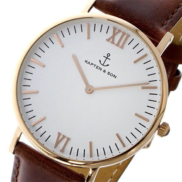 キャプテン&サン KAPTEN&SON 40mm クオーツ レディース 腕時計 時計 GD-KS40WHBRL ホワイト/ピンクゴールド【ポイント10倍】【_包装】 【ラッピング無料】