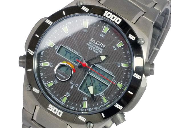 エルジン ELGIN ソーラー 電波 メンズ チタン ワールドタイム 腕時計 時計 FK1397TI-BP【_包装】【ポイント10倍】 【ポイント10倍】【ラッピング無料】