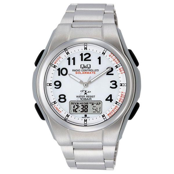 【CITIZEN】シチズン Q&Q 電波ソーラー メンズ腕時計MD02-204 SOLARMATE (ソーラーメイト) /5点入り(き)【ポイント10倍】 【ポイント10倍】世界5局対応コンビネーション電波腕時計。ソーラー電波機能搭載